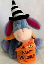 Disney Store RARE Eeyore in witch costume with Halloween treat bag Ultra Plush