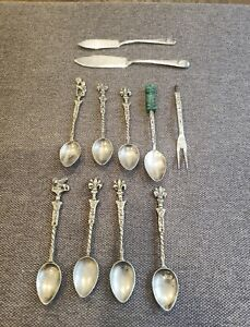 Vintage Demi Tasse Spoons & Fork Mexico (2 Sterling) & Silver Plated Knives
