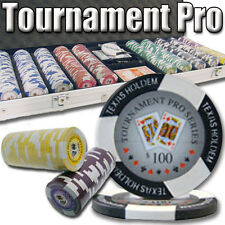 NEW 500 Tournament Pro 11.5 Gram Clay Poker Chips Set Aluminum Case Pick Chips