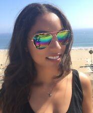 Aviator Sunglasses Vintage Mirror Lens New Men Women Fashion Frame Retro Rainbow