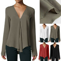 Summer Women Fashion V Neck Long Sleeve Batwing Chiffon Career Top Shirt Blouse