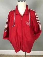 large MensAdidas Jacket Windbreaker Full Zip Nylon Red