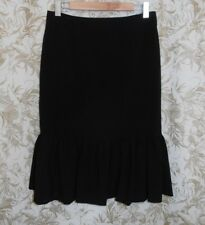 CHARLIE BROWN NWOT Sz 10 black stretch poly viscose tailored pencil frill Skirt