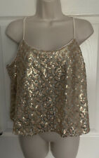 Forever 21 Cream/Rose Gold Sequin Floral Crop Cami Strap Blouse Top L 12-14