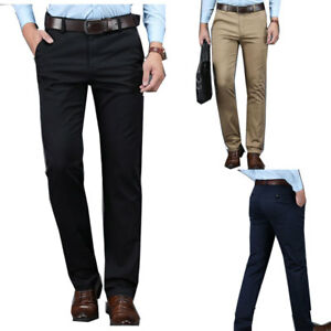 Men's business casual straight pants loose trousers stretch long high waist soft
