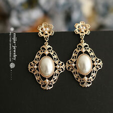 Costume Fashion Earrings Studs Baroque Chandelier Pearl Bohemia Vintage CC 2