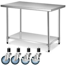 "30"" x 48"" Stainless Steel Commercial Kitchen Nsf Prep & Work Table on 4 Wheels"