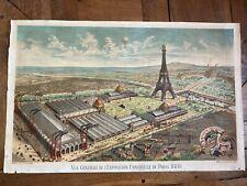 Exposition Universelle Paris 1889- Tour Eiffel- Affiche authentique-lithographie
