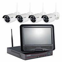 """4CH 1080P WIFI NVR 10"""" LCD Monitor with 4 Wireless CCTV P2P Camera System 4TB"""