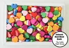25 x 18mm Wood Heart Bead Flat Bright Mixed Colours Wooden Beads Hearts Love DIY