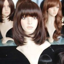 Fashion Medium Long Dark Brown Bob Straight Women's Lady Hair Wig Full Wigs +Cap