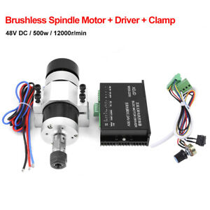ER16 DC 48V 500W High Speed Air Cooling Brushless Spindle Motor +Driver+Clamp