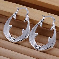 Paar Damen Ohrring Creolen Delfin Ohrstecker pl. mit Sterlingsilber DO137 T::A