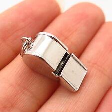 925 Sterling Silver Vintage Old Stock Whistle Design Charm Pendant