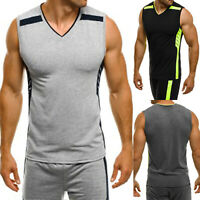 Men Sports Sleeveless Vest Tee Bodybuilding Tank Top Muscle Clothing Gym T-Shirt