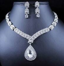 DROP CLEAR AUSTRIAN RHINESTONE CRYSTAL NECKLACE EARRINGS SET WED BRIDAL N997