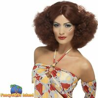 70's Afro Wig Auburn Middle Parting Wig Adult Womens Fancy Dress Costume