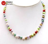 6-7mm Multicolor Baroque Natural Freshwater Pearl Necklace for Women Choker 17''