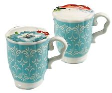 Pioneer Woman Melody Teacup Salt Pepper Shakers Kitchen Blue Ceramic Floral