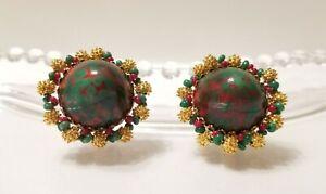 Vintage 1950s Green Red Poured Art Glass Miriam Haskell Designer Screw Earrings!