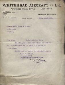 1923 FELTHAM, MIDDX. WHITEHEAD AIRCRAFT LTD. LETTER RE SHARES OF T. K. HUDSON