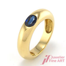 RING in 900er Gelbgold , 1 Saphir in Ovalschliff, facettiert,  7,4 g Gr. 51