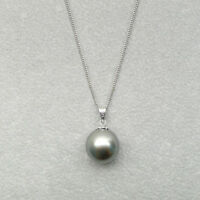 AAA Gray Genuine Tahitian Sea Cultured Pearl Pendant 925 Sterling Silver 9-12mm