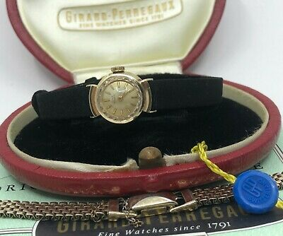 Vintage Ladies Gold Girard Perregaux Swiss Watch  (Box, Tag, Strap, Papers, Box)
