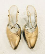 "Vtg Bruno Magli Gold Sling Back 3"" Heels 10B Made in Italy Evening Shoes 1990's"
