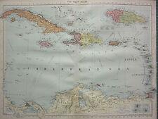 1940 mappa ~ WEST INDIES ~ Cuba Giamaica Bahama piccole Antille Leeward Hispaniola