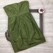 J. Crew 100% Silk Bridesmaid Dress Strapless Knee Length Sz 10 Olive Green READ