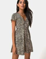 MOTEL ROCKS Elara Tea Dress in Rar Leopard Brown XS (mr66)