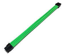 8 Pin ATX CPU Extension 30cm Green Sleeved Power Supply Shakmods + 2 Cable Comb