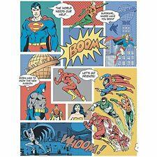 Superhero Wallpaper Comic Book Superman Batman Bold Pop Art Multi Coloured