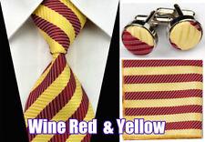 100% Silk Ties Wedding Neckties Compatible Cufflinks Sets Hanky Handkerchief