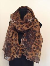 Leopard Print Scarf Leopards Head Oversized Long Soft Cool Feel 100% Viscose