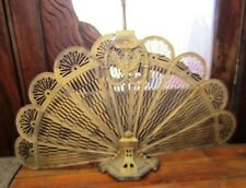 Antique Mid Century Brass Fan Fireplace Screen Horsehead Handle