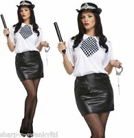 Ladies 6 Piece Sexy WPC Police Woman Cop & Hat Hen Do Fancy Dress Costume Outfit