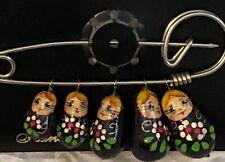 Vintage Russian Matryoshka Mini Wooden Nesting Dolls Brooch Pin Set/5