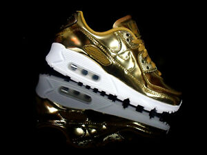 NIKE AIR MAX 90 SP WMNS Damen Sneaker gold/weiß Metallic Pack Chrom Gr.36,5