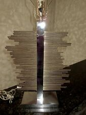 Vtg Italian MODERNIST LAMP BASE- by BANCI of Florence- Steel+Brass Accents- GUC