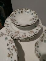 14 Pieces of Vintage China Blue Brown Floral