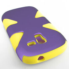 For Samsung Galaxy Exhibit T599 IMPACT TUFF HYBRID Case Skin Cover Purple Yellow