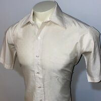 Vtg 60s 70s BOTANY 500 Dress Shirt Disco Shiny Polka Dot Groovy Mod MENS MEDIUM
