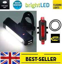 front white & rear 5 led USB bike lights set - waterproof red flashing light UK