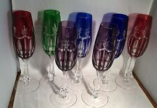 Vintage Bohemian Colored Cut To Clear Crystal Wine Champagne Glass Stems Set (7)