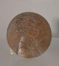 Antique Bronze PLaque Johan Strauss Anton Scharff Engraving Medallion