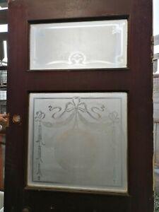 Reclaimed Internal Wooden Door Public House Pub Etched Glass #D80J