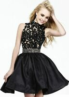 Halter Backless Lace Short Prom Dress Black Cokctial Party 2 4 6 8 10 12 14 16