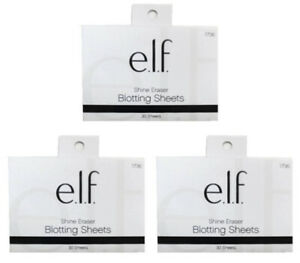 Lot of 3: NEW e.l.f. Shine Eraser Face Blotting Sheets Papers (30/Pack, Sealed)